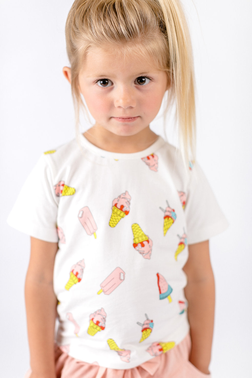 Solid Sleeves Ice Cream Graphic Top