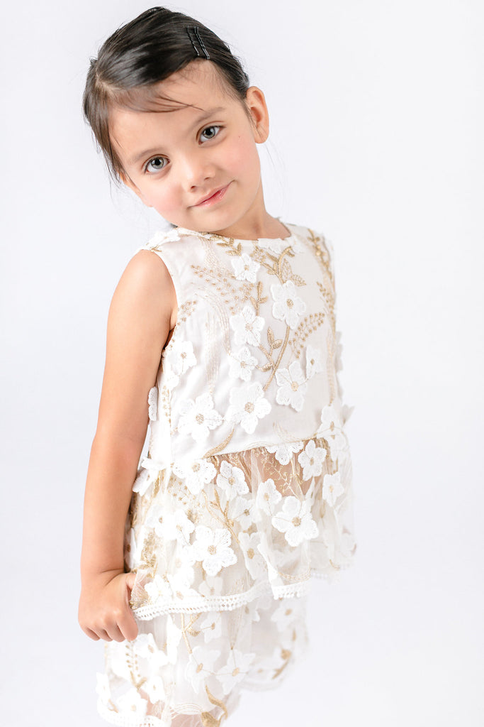 White Flowers Embroided Sheer Lace Shorts - Doe a Dear
