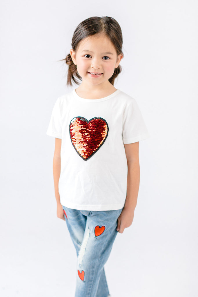 Cotton Tee w/ Heart Sequined Patch - Doe a Dear