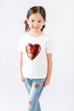 Cotton Tee w/ Heart Sequined Patch