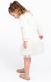 Long Sleeve Pearl Detai Dropped Waist l Lurex Cream Dress