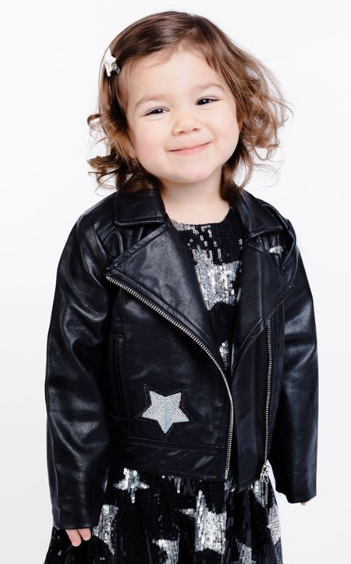 Long Sleeve Biker w/ Sequin Star Patch Jacket - Doe a Dear