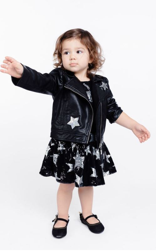 Long Sleeve Biker w/ Sequin Star Patch Jacket