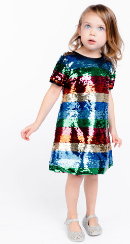 S/S Striped Sequinned Dress - Doe a Dear