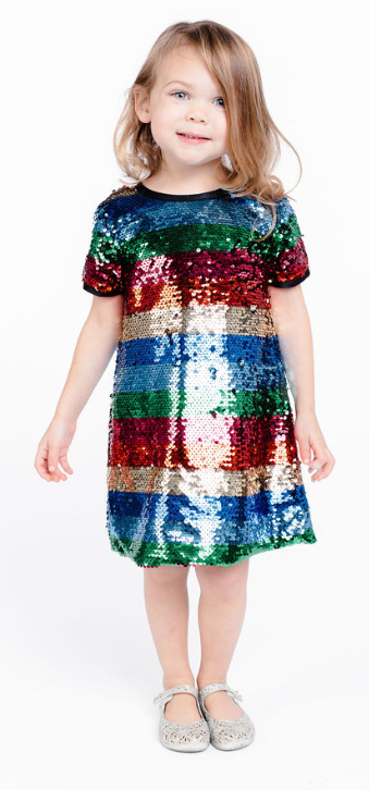 S/S Striped Sequinned Dress