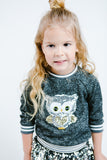 L/S Heather Sweater w/ Baby Owl Sequin Patch - Doe a Dear