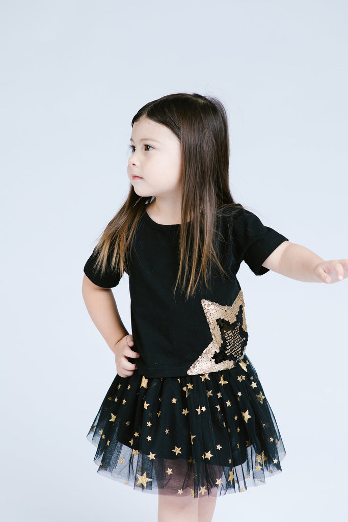Star Sequin Patch Tee - Black
