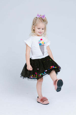 Black Pom Poms Skirt - Doe a Dear