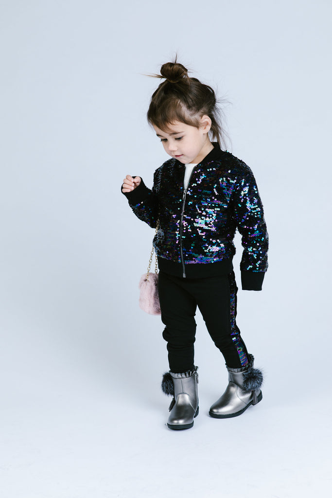Peacock Side Sequin Legging - Doe a Dear