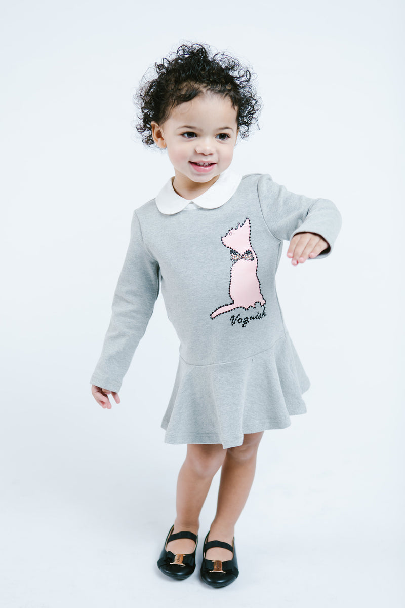 L/S Knit Shift Dress w/ Kitty Outline & Peter Pan Collar