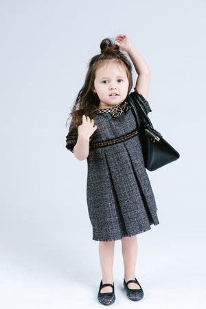 Tweed Empire Dress w/ Gold Frayed Trim