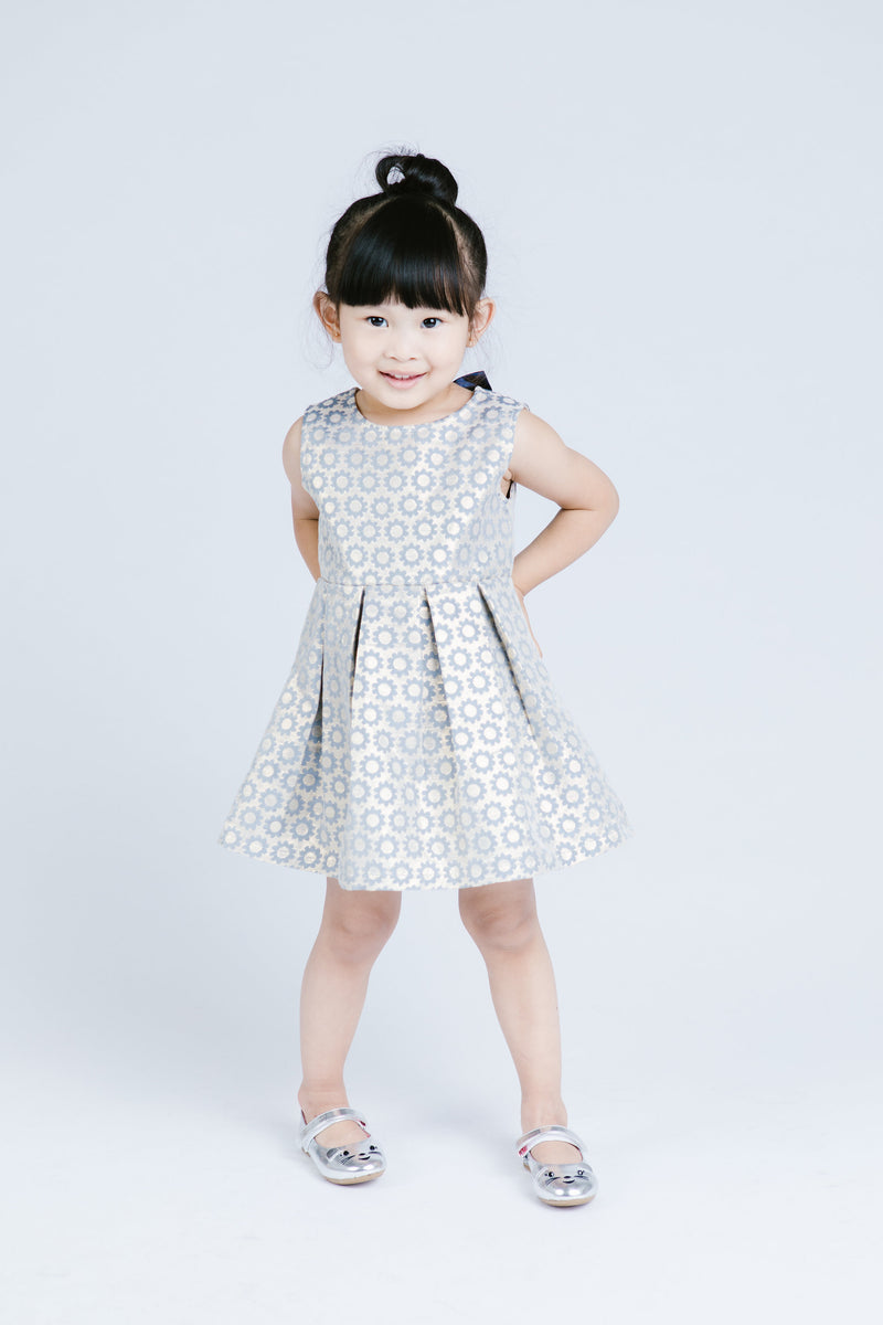 Slvls Brocade Pleated Dress w/ Bow A- Back