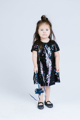Peacock Sequin Fit & Flare Holiday  Dress - Doe a Dear