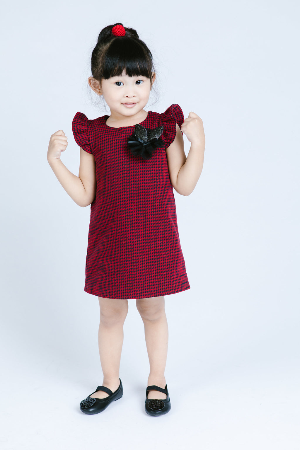 Fltr Slv Houndstooth Print Dress