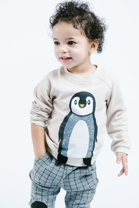 L/S Penguin Graphic Top w/ Feet Flaps