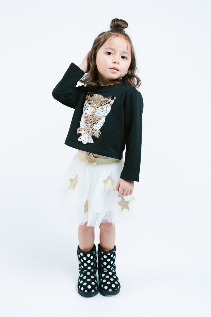 L/S Owl Sequin Patch - Doe a Dear
