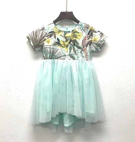 Tropical Print Tulle Skirt Dress in Aqua
