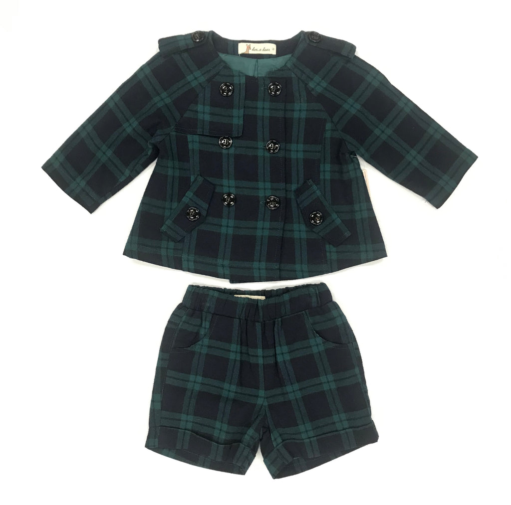 Plaid Jacket &  Shorts Set
