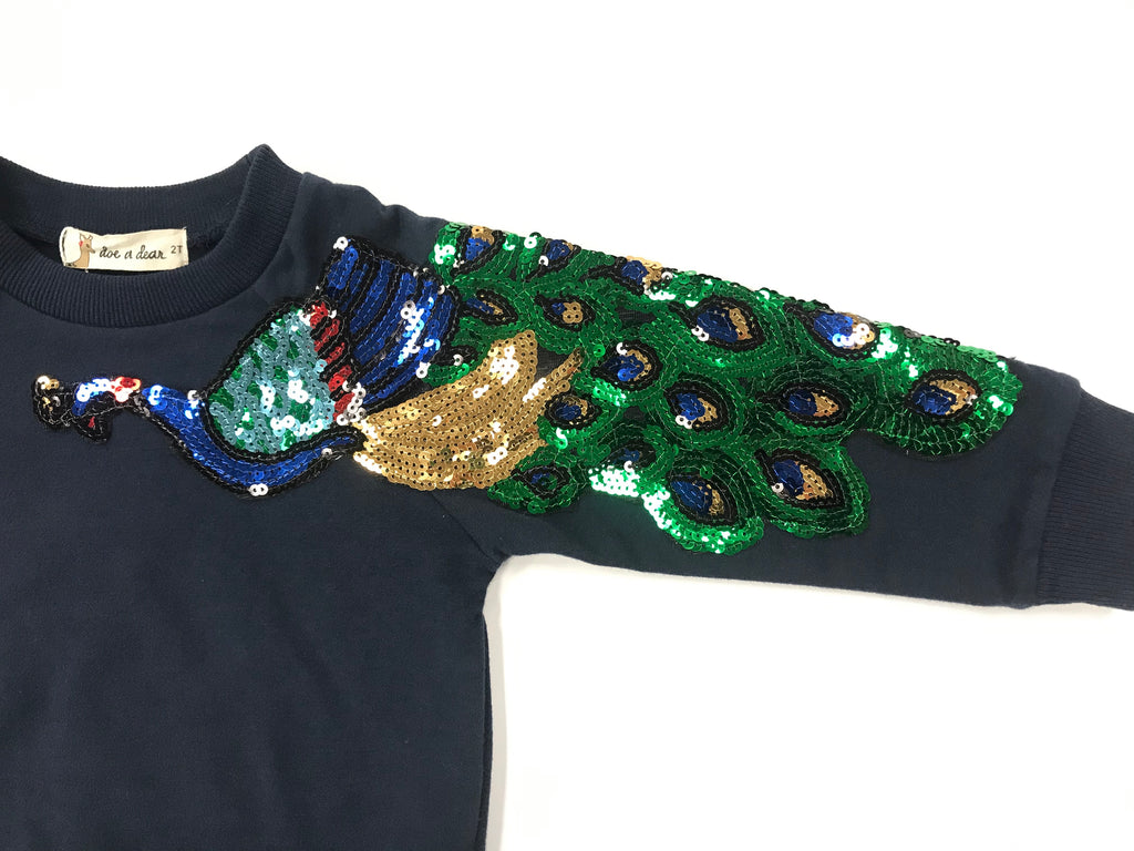 Peacock Sequin Patch Sweatshirt - Blue