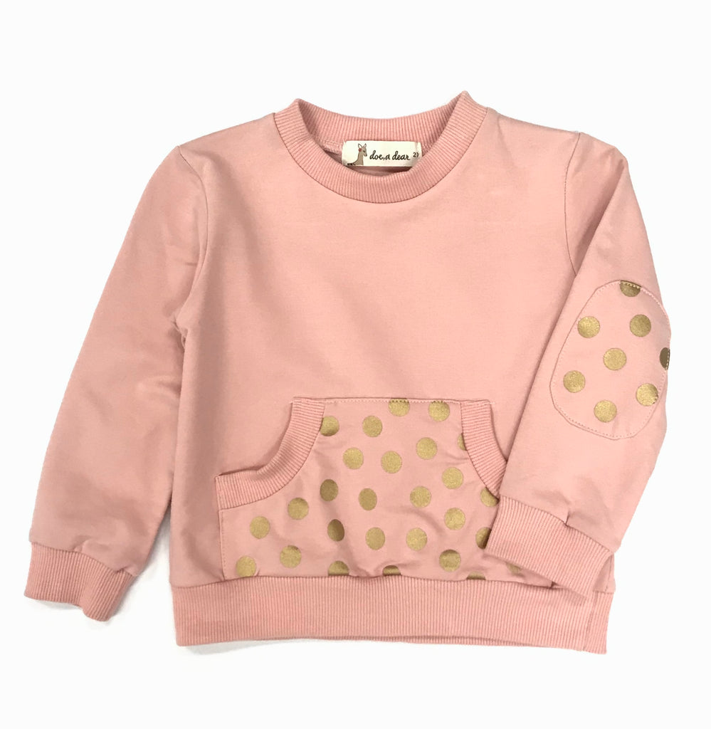 Gold Foil Dots Sweatshirt - Pink