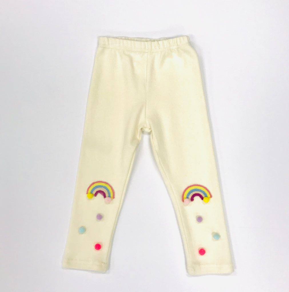 Rainbow w/ Pom Pom Leggings - Ivory