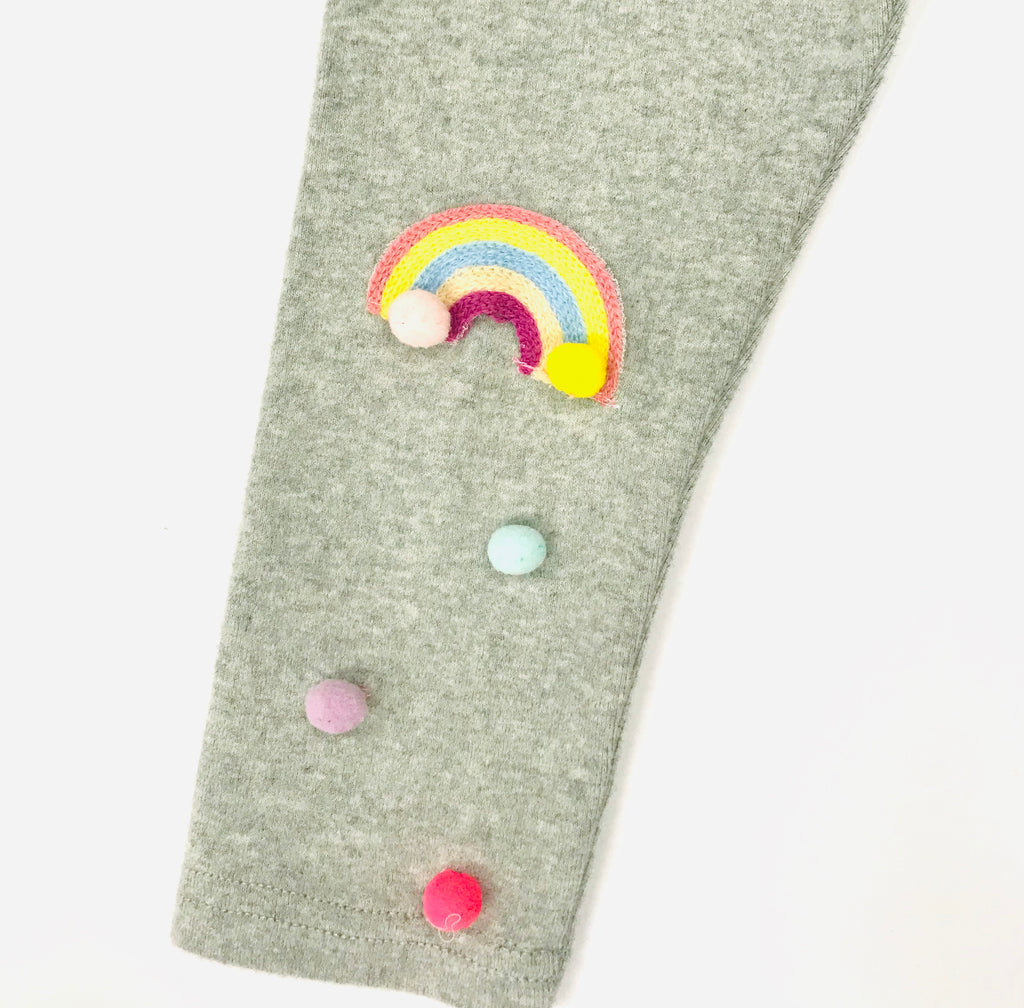 Rainbow w/ Pom Pom Leggings - Heather Grey