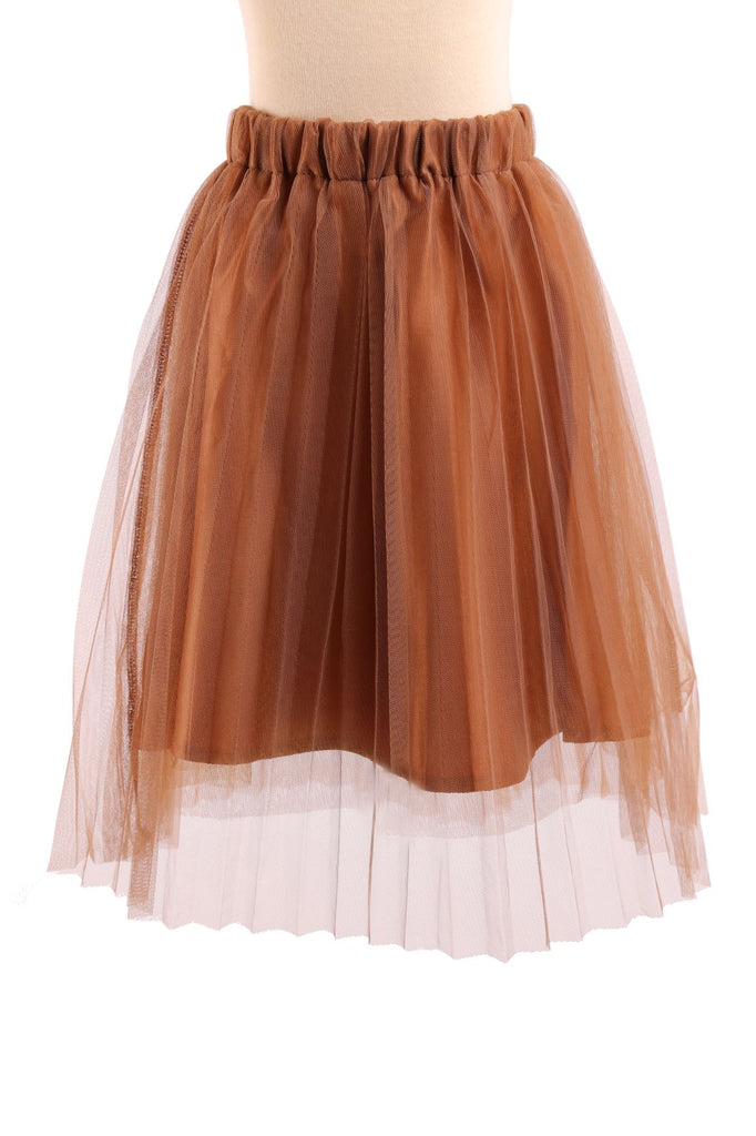 Elastic Waist Cocoa Pleated Tulle Skirt - Doe a Dear