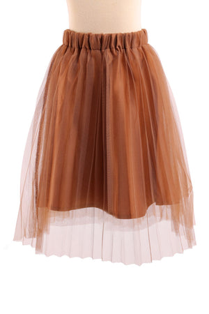 Elastic Waist Tulle Pleated Middi Skirt