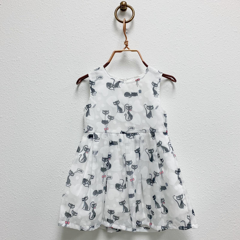Sleeveless Cat Print A Line Dress