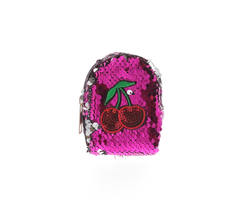 Sequinned Cherries Coin Purse Key Chain