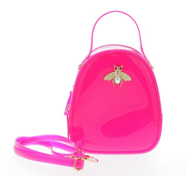 Jelly purse with Bee Pin - Fuchsia