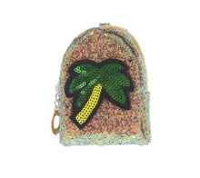 Sequin Palm Tree Coin Purse Key Chain