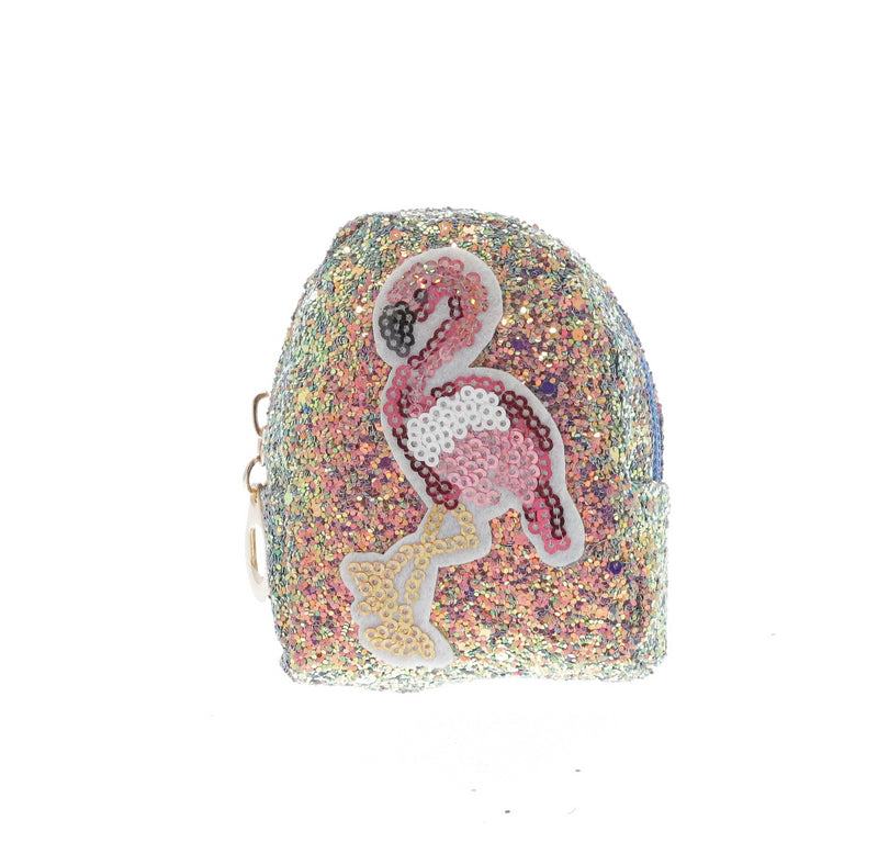Sequin Flamingo Coin Purse Key Chain