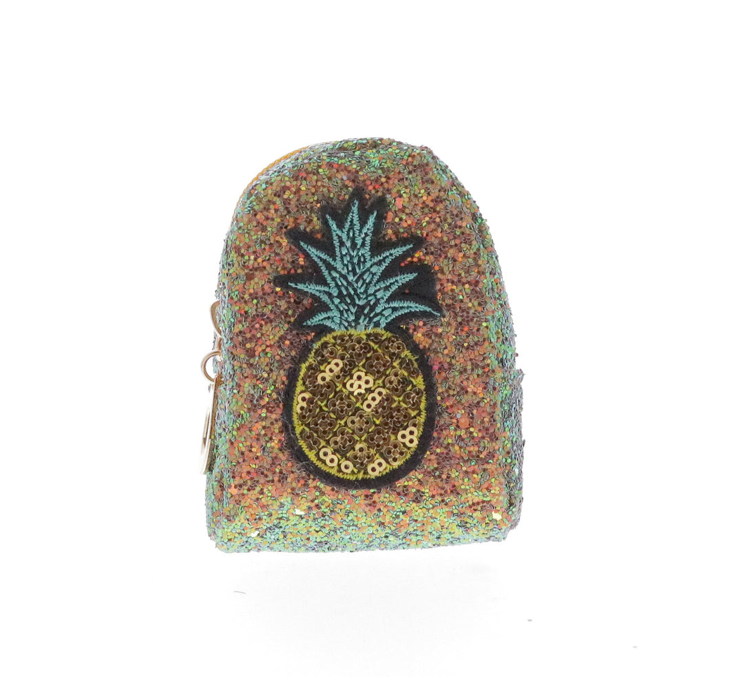 Sequin Pineapple Coin Purse Key Chain