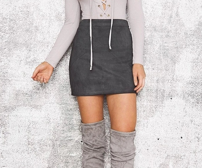 Lovely Autumn Suede Skirt