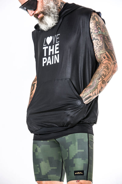 """Love The Pain Sleeveless"" Action  Performance Hoodie"