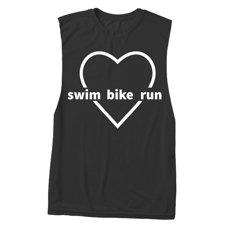"""Love Swim Bike Run"" Muscle Tank"