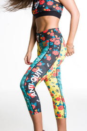 """Flowertime"" Anti-Quit PowerRun Capri Leggings (Womens)"