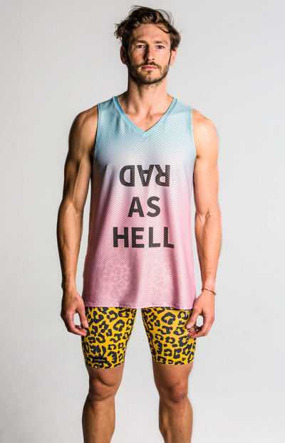"""Watermelon"" Performance Run Tank V-Neck (Mens)"