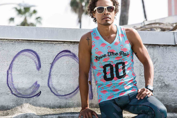 """Flamingo Time Performance"" Performance Run Tank V-Neck (Mens)"