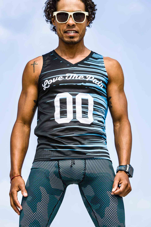 """New Aqua Performance"" Performance Run Tank V-Neck (Mens)"