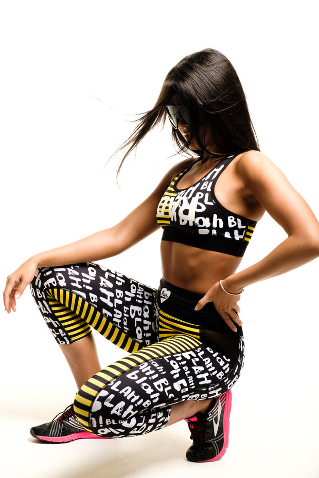 """BLAHBLAH"" Anti-Quit PowerRun Capri Leggings (Womens)"