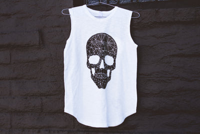 """Vintage White Anti-Quit Skull"" Inside Out Sleeveless Tee"