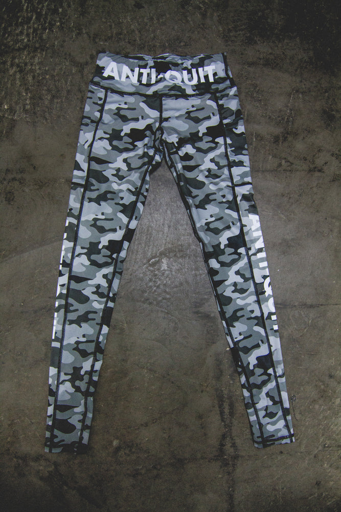 """Gray Camo"" Speed Performance Run Tights"