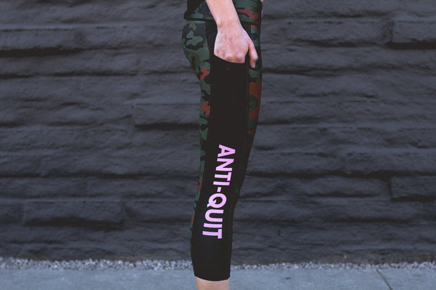 """Speed Camo"" Anti-Quit PowerRun Capri Leggings (Womens)"