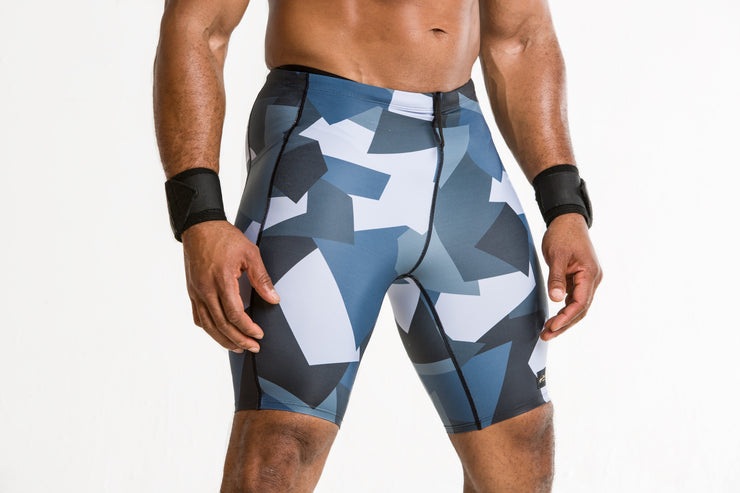 """Geometric Blue"" Men's Performance Run Shorts"