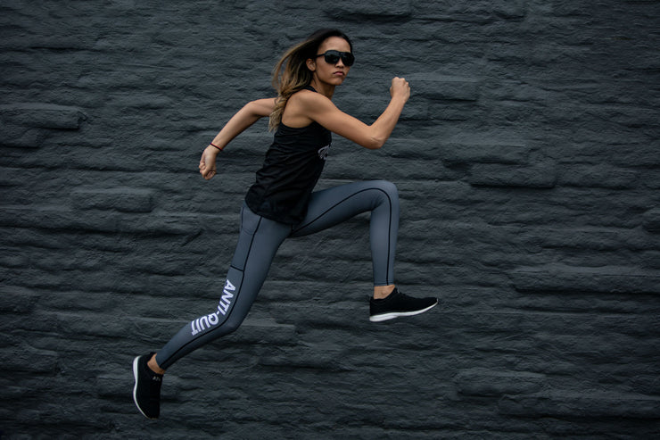 """Carbon"" Anti-Quit PowerRun  Leggings (Womens)"