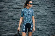 """Blue Cheetah"" Aero Race Jersey Womens"