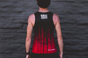 """Red Scratch"" Performance Run Tank V-Neck (Mens)"