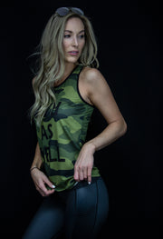"""Battle Camo"" Run Flow Singlet  (Womens)"